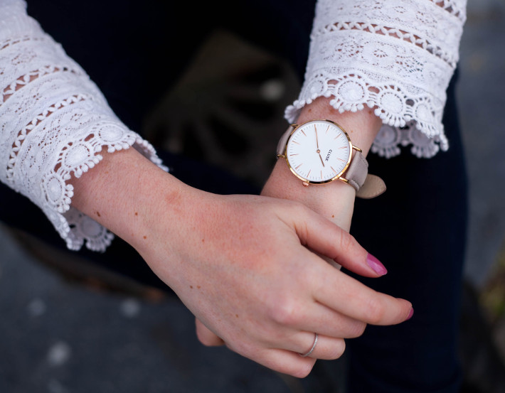 Cluse watch, minimalist ring, broderie anglaise sleeves