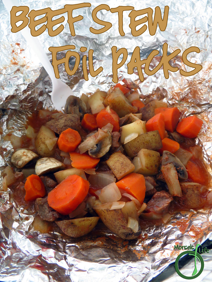 Morsels of Life - Beef Stew Foil Pack - A hearty beef stew with potatoes, carrots, mushrooms, and onions, in foil pack form! Perfect for a campfire meal.