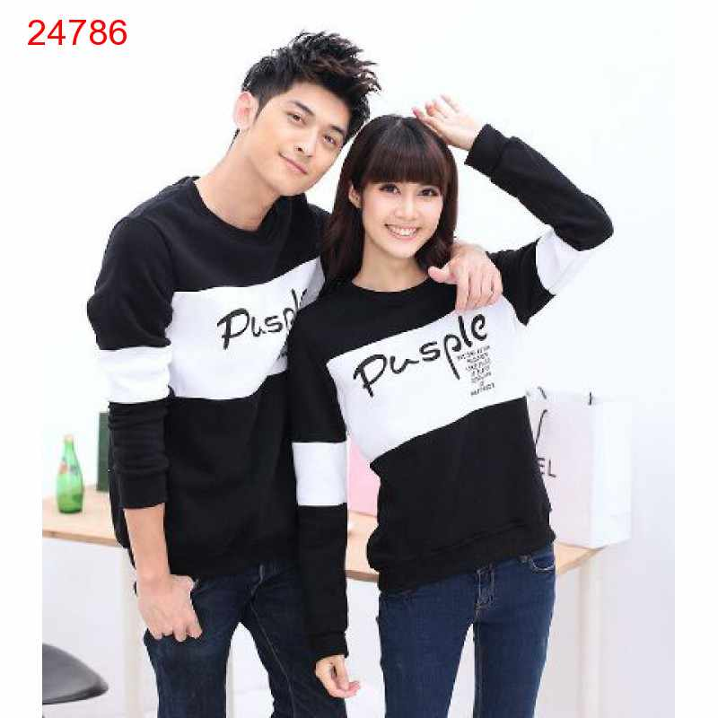 Jual Sweater Couple Sweater Pusple Cold Black White - 24786