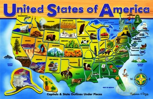 united states puzzle for preschool theme