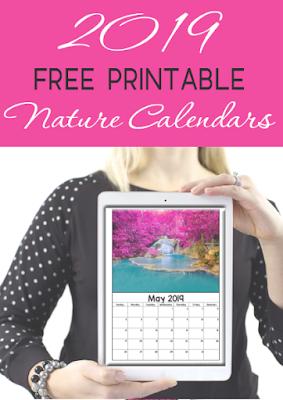 2019 free printable nature calendar