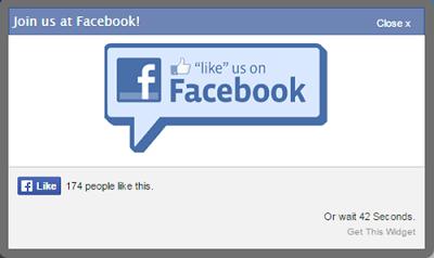Facebook like pop up com timer widget Blogger