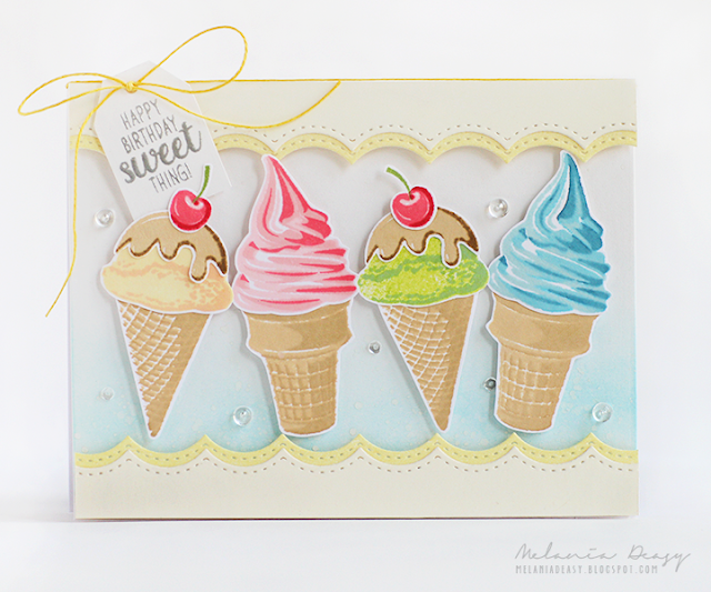 Sunny Studio Stamps: Two Scoops Happy Birthday Sweet Thing Ice Cream Cone Card by Melania Deasy.