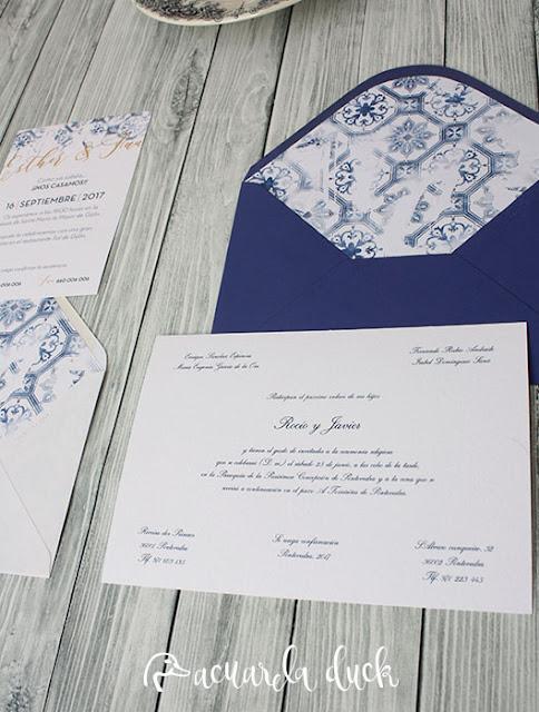 Invitación boda tematica portugal