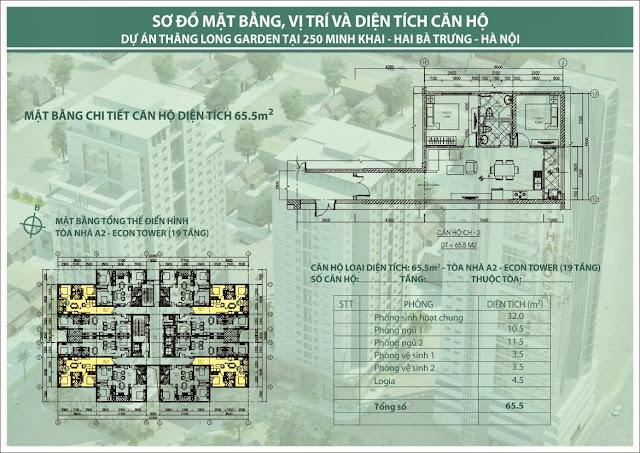 Diện tích 65m/căn góc tòa A2 chung cư 250 Minh Khai Thăng Long Garden