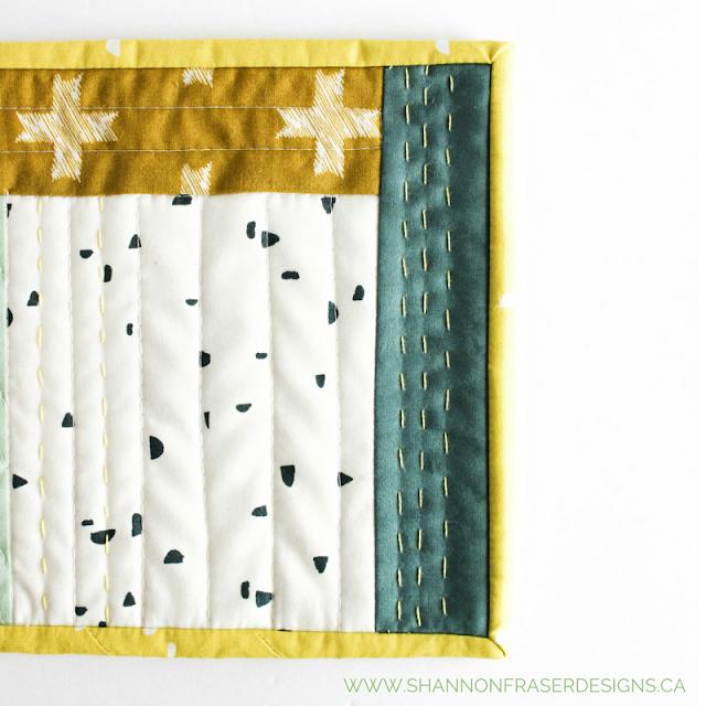 Scandinavian Quilted Mug Rug | Shannon Fraser Designs | Modern Quilting | Art Gallery Fabrics
