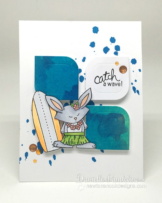 Surfing Bunny card by Danielle Pandeline | Beach Party Stamp Set by Newton's Nook Designs #newtonsnook