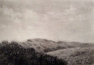 charcoal sketching of Mandalpatti hills on Canson c a grain paper, by Manju Panchal