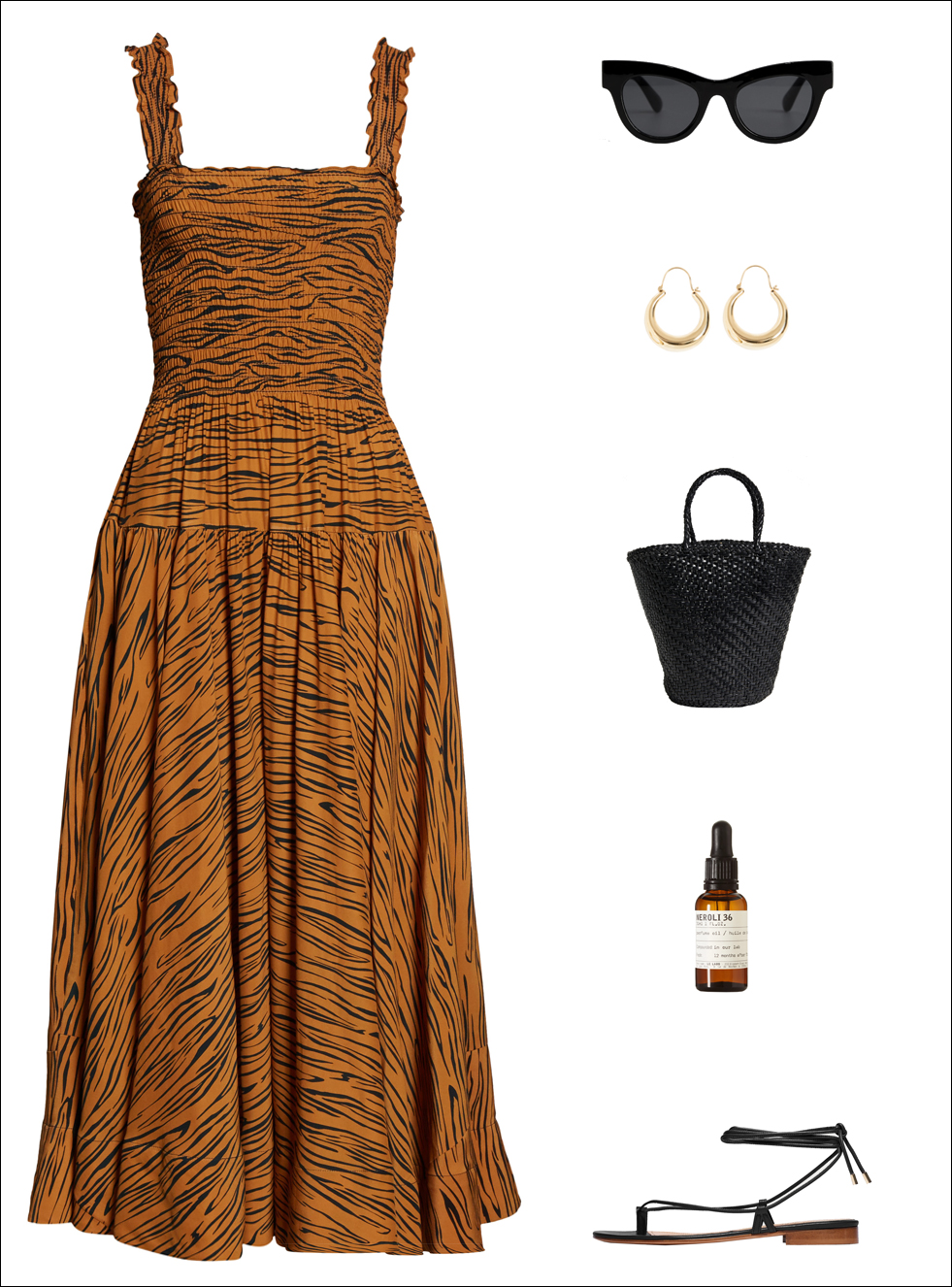 How to Style an Animal Print Dress for Summer — Tiger-Print Dress, Cat-Eye Sunglasses, Gold Earrings, Black Basket Bag, Neroli Fragrance, anf Ankle-Wrap Flat Sandals