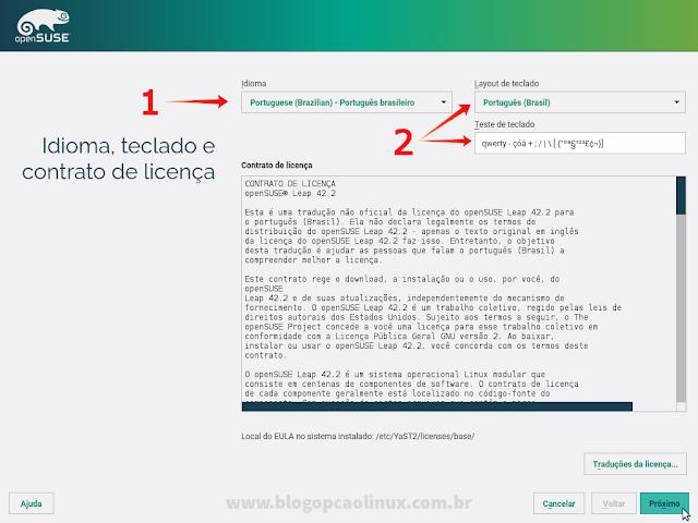 Tela de seleção do Idioma de instalação, layout do teclado e Contrato de Licença do openSUSE