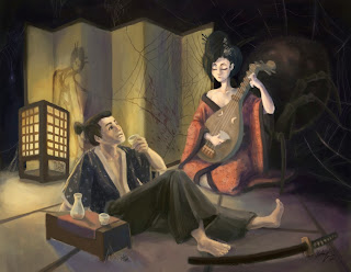 Jorōgumo playing a song for her victim, a man charmed by her music and looks