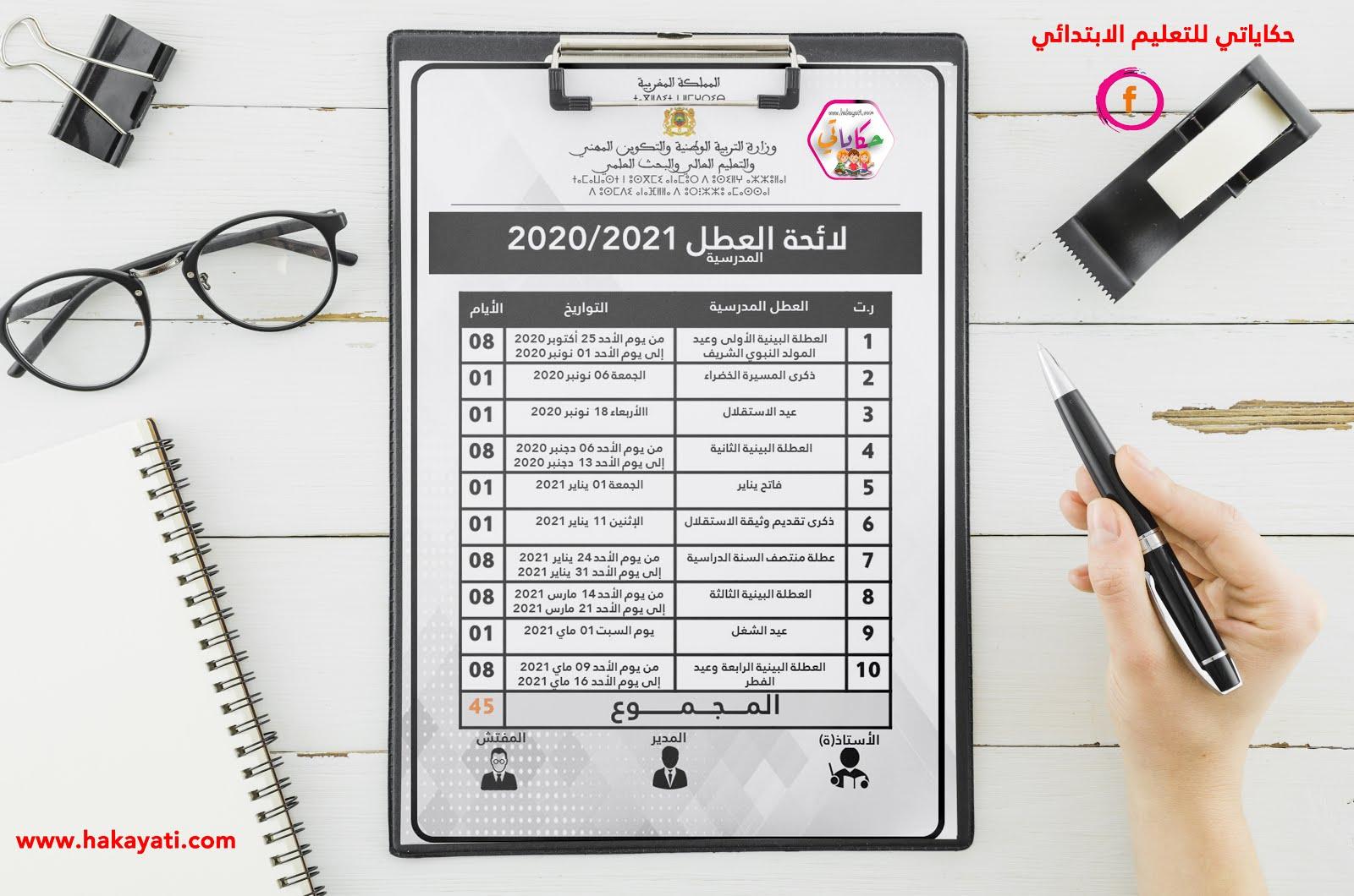لائحة العطل المدرسية 2020/2021 بحلة مهنية رائعة