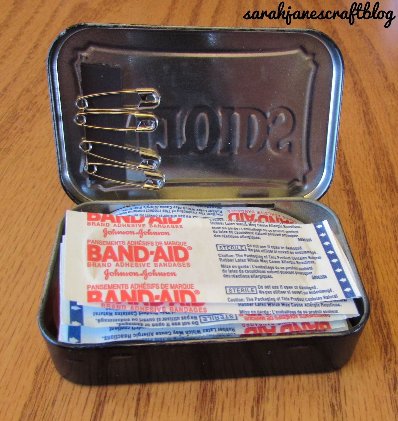 sarah jane s craft blog recycled altoids tin first aid kit