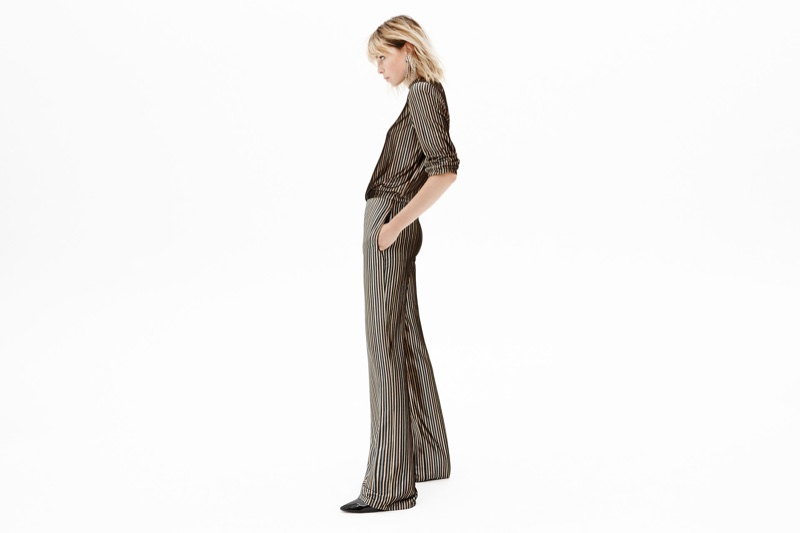 Zara Striped Velvet Top, Striped Velvet Trousers, Faux Patent Ankle Boots and Sparkly Ear Cuff