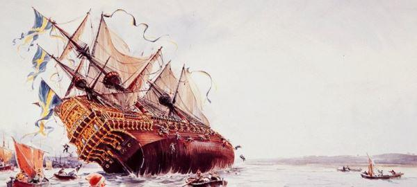 Ilustrasi tenggelamnya kapal Vasa