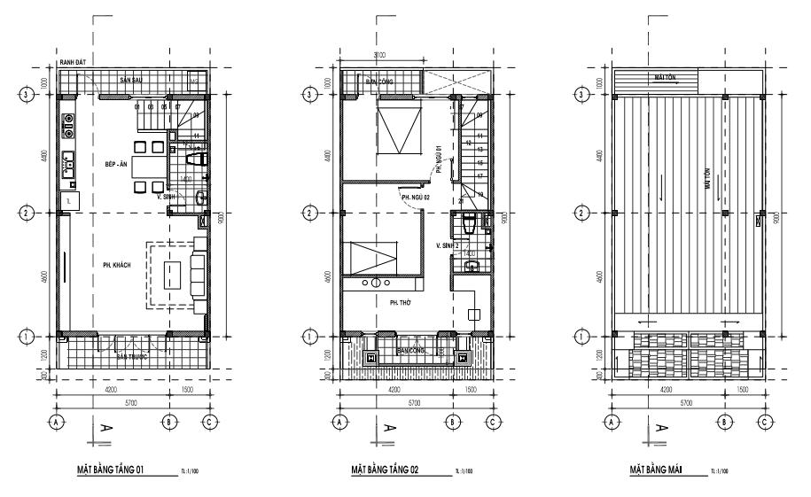 Mẫu nhà 5,7 x 12m - 1 trệt, 1lầu
