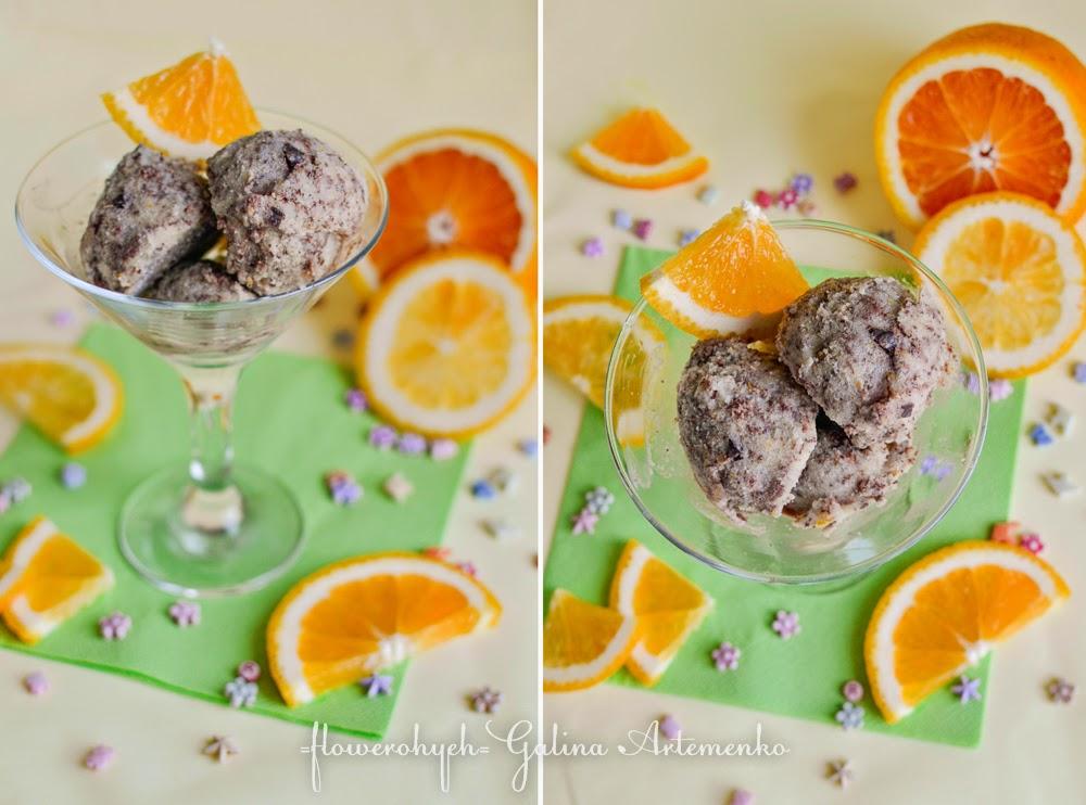 мятное мороженое с апельсином и шоколадом рецепт