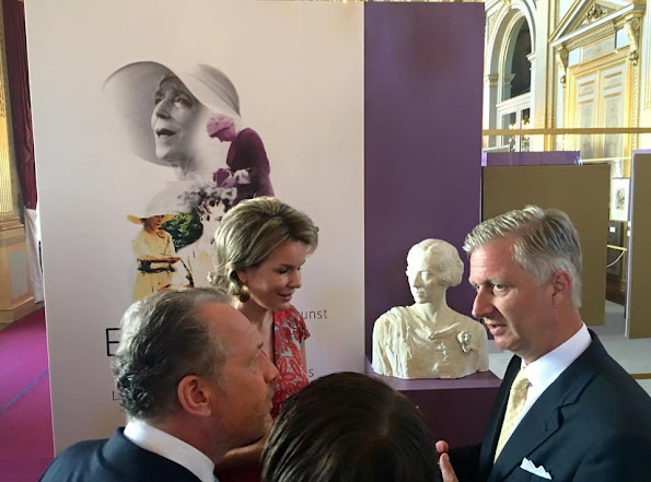 King Philippe and Queen Mathilde visited the exhibition of science and culture at Royal Palace Queen Mathilde wore Paule Ka dress