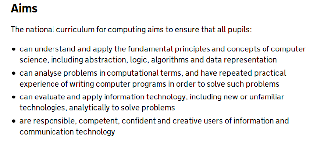 aims of putting compuing program in national curriculumn in England
