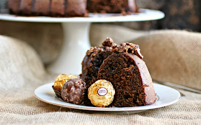 Chocolate Hazelnut Candy Bundt with Nutella Glaze