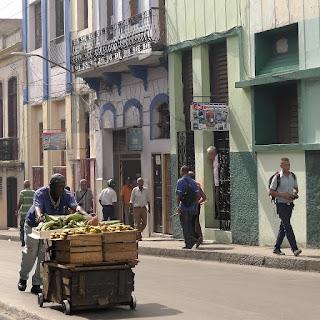 Dunkelhäutiger Händler schiebt einen karren mit Stahlrollen vor sich her, beladen mit Obst und Gemüse.
