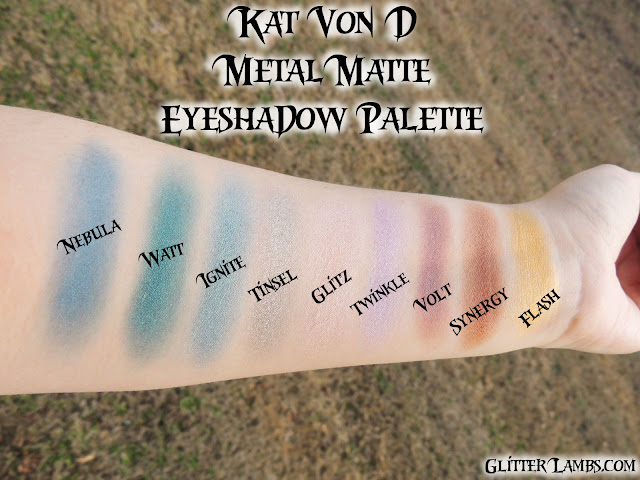 Kat Von D Metal Matte Eyeshadow Palette Swatches by Glitter Lambs-www.GlitterLambs.com-Makeup Swatches