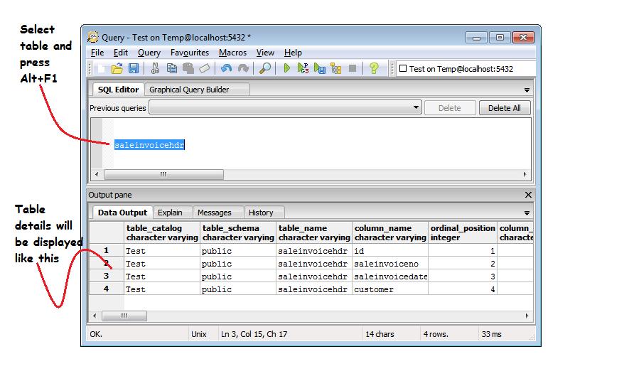 List table details using Alt+F1 in PostgreSQL « Novice Techie
