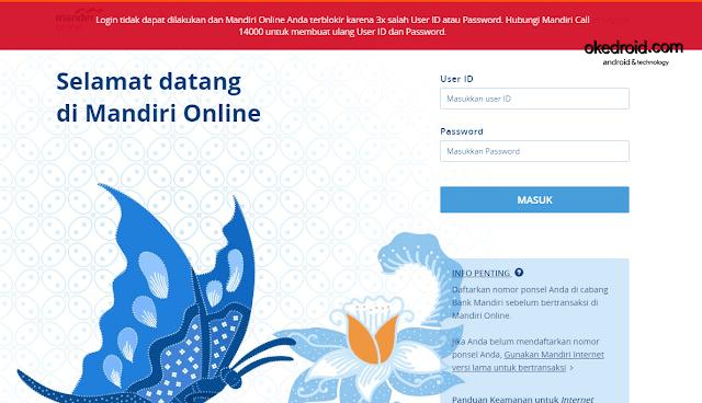 Contoh gambar screenshot dari akun situs website Mandiri Online yang telah diblokir