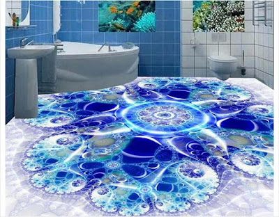 Art of 3D bathroom flooring murals with epoxy floor coating