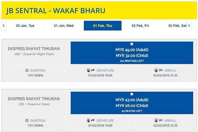 harga tiket (JB Sentral - Wakaf Bharu)