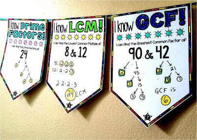 Prime Factors, GCF and LCM Math Pennant Activity