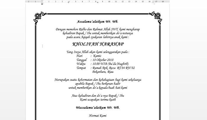 format undangan aqiqah