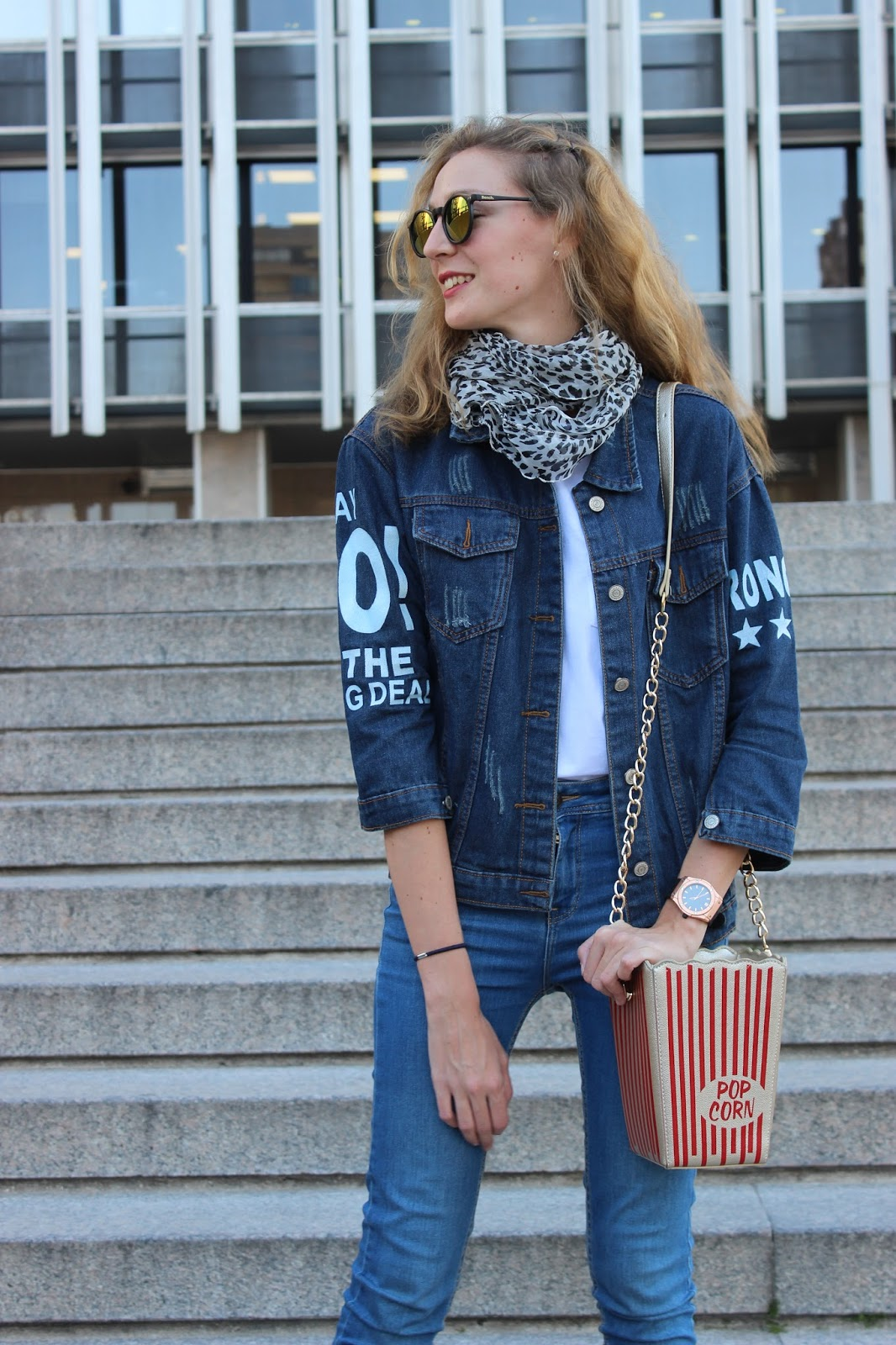 denim over denim look