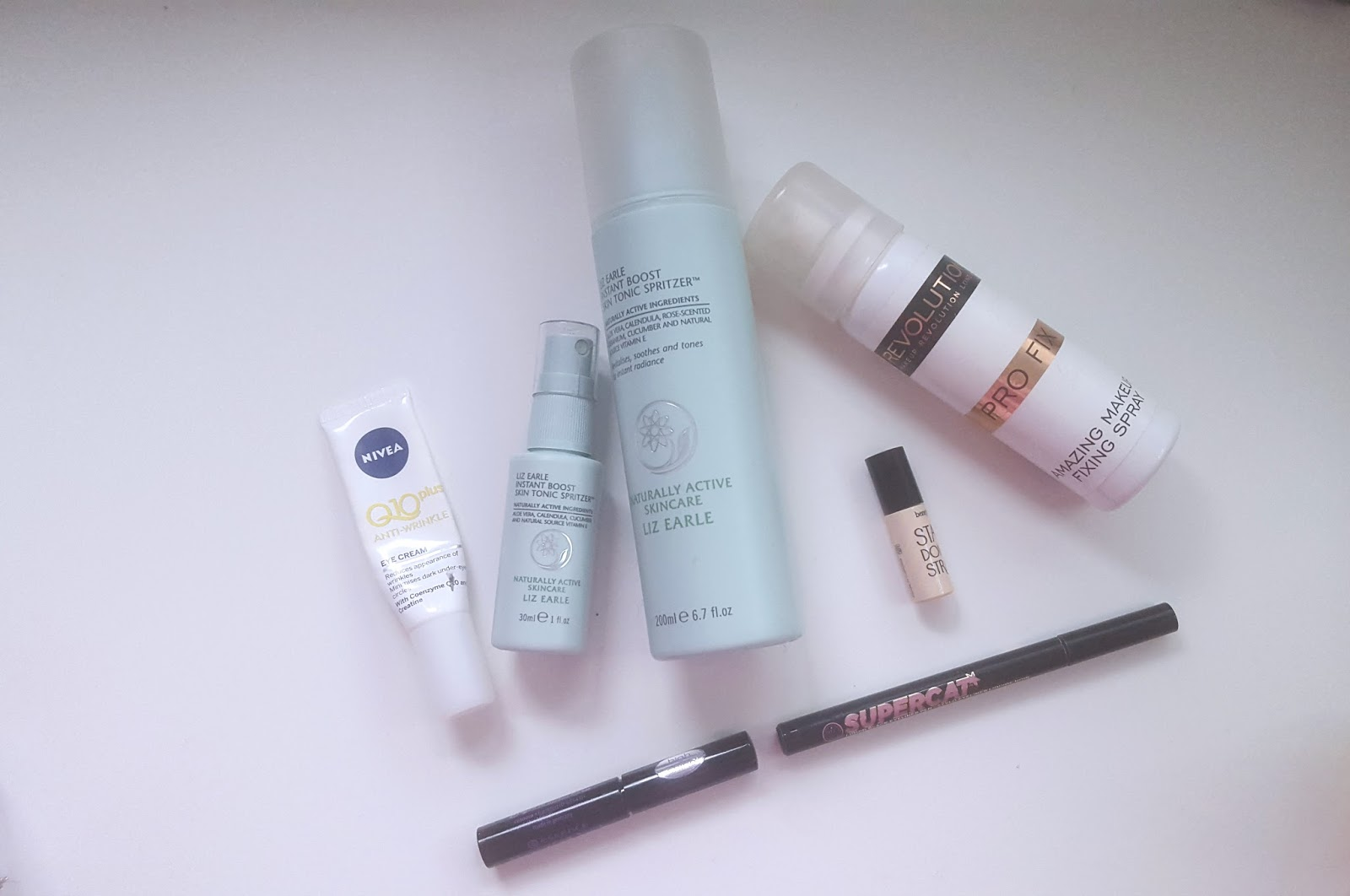 Liz Earle Instant Skin Boost Tonic Nivea Q10 AntiWrinkle Eye Cream Benefit Stay Don't Stray Supercat Eyeliner Essence Liquid Ink