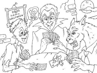 zombie vampire and werewolf playing card coloring pages