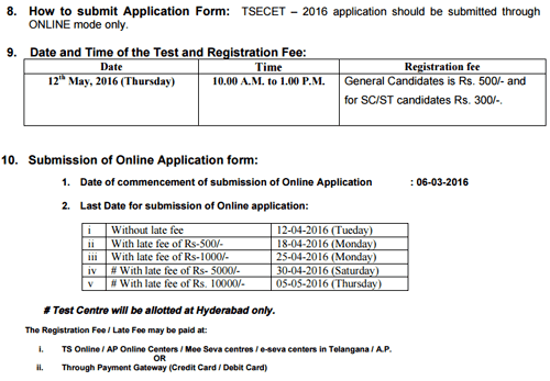 TS ECET 2016 Online Application Last Date For Submission