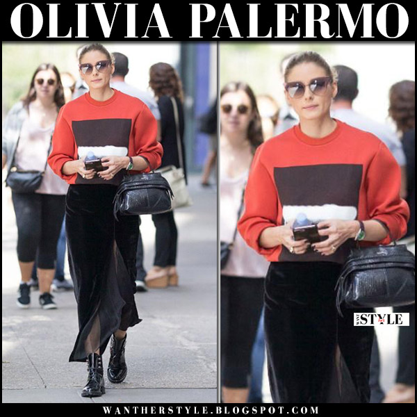 Olivia Palermo in red sweatshirt, black velvet maxi skirt banana republic and black army boots dior fall fashion october 11 2017