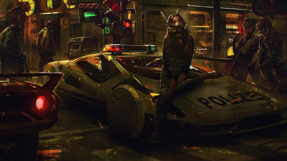 Cyberpunk, Police Car, Sci-Fi, 4K, #74
