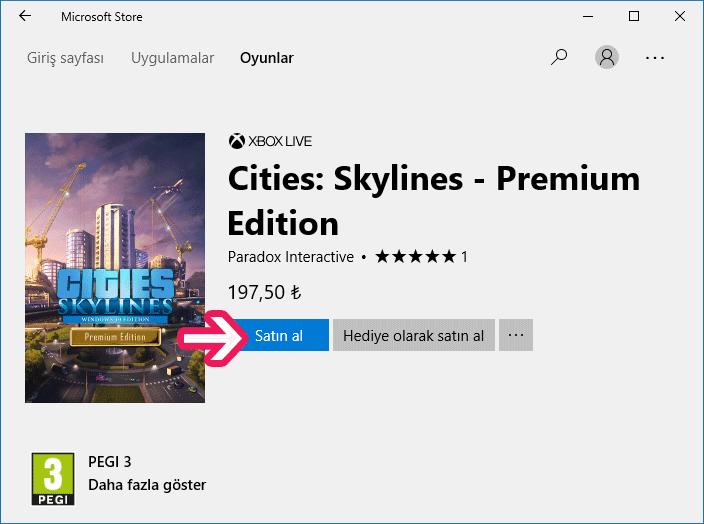 Windows 10 Microsoft Mağazası'ndan ücretli oyun indirme - www.ceofix.com