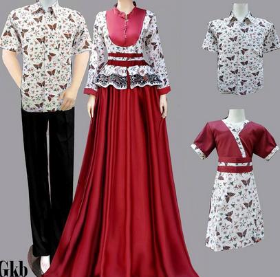 15 desain baju batik couple model terbaru Baju gamis couple ibu ayah anak