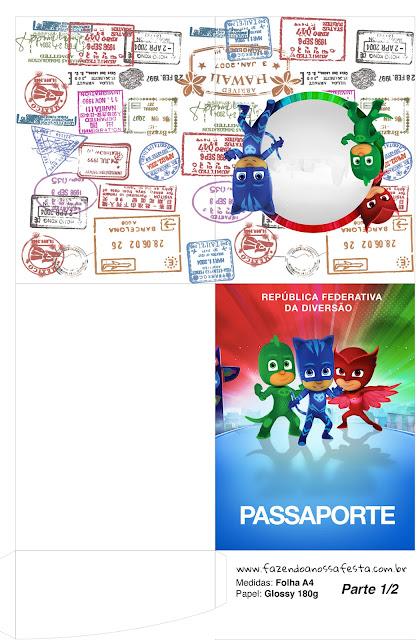 Imprimible con forma de Pasaporte de Super Héroes en Pijamas.