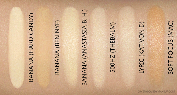 Hard Candy Bake Brighten Set Loose Finishing Powder Banana Swatches Comparisons ABH Ben Nye TheBalm Kat Von MAC