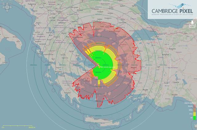 Θεωρητική κάλυψη ραντάρ στη Σκύρο. Η κάλυψη του είναι τουλάχιστον διπλή έναντι των Τουρκικών.