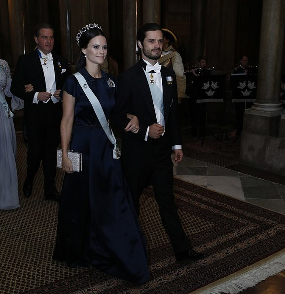 King Carl Gustaf, Queen Silvia, Prince Carl Philip, Princess Sofia, Princess Madeleine, Christopher O´Neill, David Johnston, Sharon Johnston attend the state banquet at Royal palece
