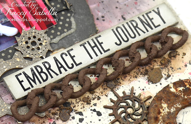 """Embrace the Journey"" DIY Industrial Steampunk Home Decor Tag by Tracey Sabella for Scrap & Craft featuring Studio75 Paper: #studio75 #scrapiniec #agateria #mixedmedia #mixedmediatag #arttag #steampunk #industrialsteampunk #chipboard #Finnabair #Primamarketing #homedecor #timholtz #rust #rustart #lindysgang #lindysstampgang #rangerink #stampendous #spellbinders #helmar #scrapbookadhesivesby3l"