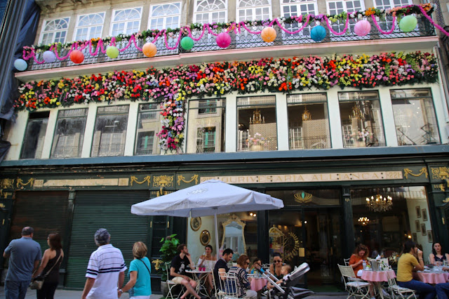 cafe decorated for festival of sao joao, Porto, Portugal