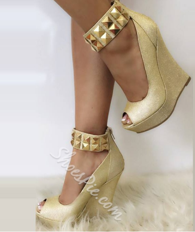 Shoespie Genuie Leather Metal Decoration Zipper Wedge Heels