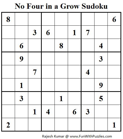 No Four in a Grow Sudoku (Daily Sudoku League #111)