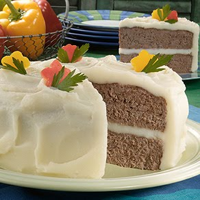 April Fool's 'Cake' ....actually made from meatloaf and mashed potatoes...from Grandma's Kitchen