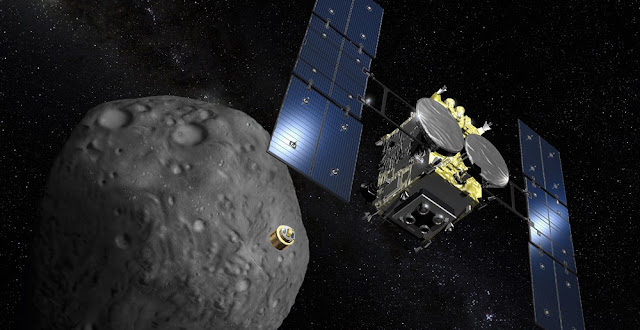Artist's rendering of the Hayabusa 2 asteroid probe. Credit: Akihiro Ikeshita